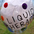 Liquid Therapy Colorful Polka Dots Hand Painted WIne Glass