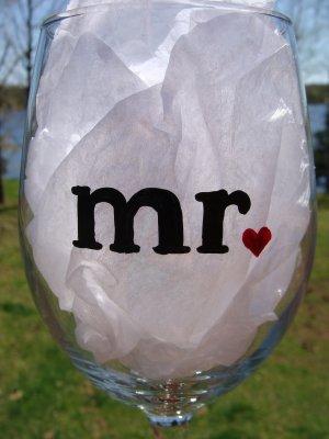 Mr. Groom Wedding Hand Painted Wine Glass