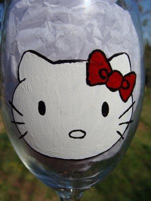 Hello Kitty Hand Painted Wine Glass