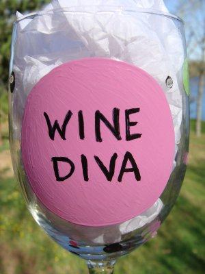 Wine Diva Hand Painted Wine Glass