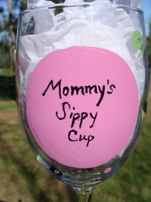 Mommy's Sippy Cup Hand Painted Wine Glass