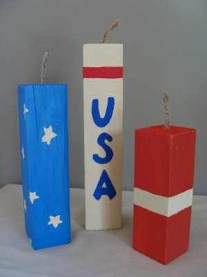Patriotic USA Fireworks Decor Wood Stackers