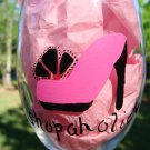 Shopaholic Hand Painted Wine Glass