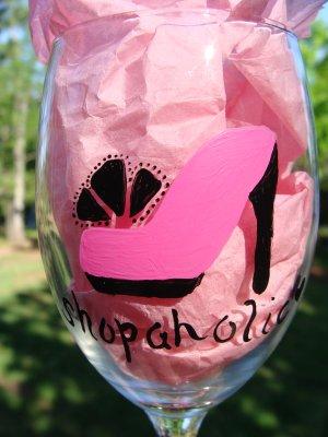 Shopaholic Hand Painted Wine Glass