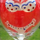Patriotic Red White & Blue Polka Dot Bikini 3D Boobs Hand Painted Wine Glass