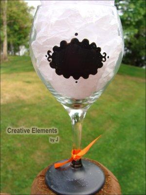 Chalkboard II Hand Painted Wine Glass