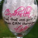 Cinderella Hand Painted Wine Glass