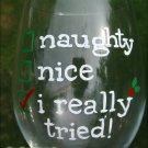 Naughty, Nice, I Really Tried Hand Painted Wine Glass