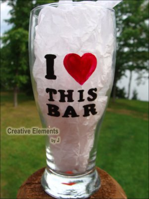 I Love This Bar Hand Painted Pilsner Beer Glass