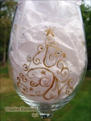 Sparkle Christmas Tree Holiday Hand Painted Wine Glass
