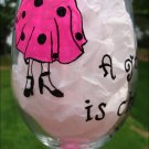 A Good Friend Is Cheaper Than Therapy Hand Painted Wine Glass