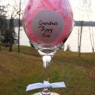 Grandma's Sippy Cup Hand Painted Wine Glass