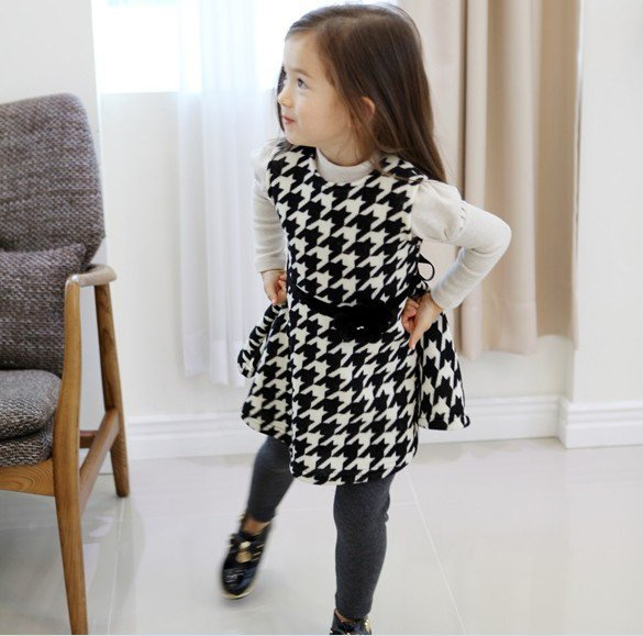 Size 100 Black - Girls' Long Sleeve Dress