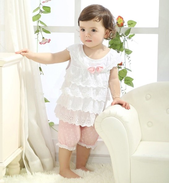 Size 80 Pink - Infant Girl's Suit - Top + Bottom
