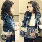 Size 140 - Girl's Jeans Coat With Tulle