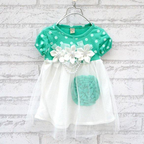 Size 90 Green - Princess Flower Bubble Dress