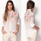 Size Asian S (US XS(2) UK 2 AU 4) - Women's Shirt Summer Flowers Print Chiffon Blouse