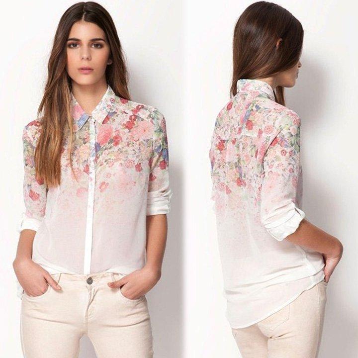 Size Asian M (US S(4) UK 6 AU 8) - Women's Shirt Summer Flowers Print Chiffon Blouse