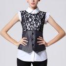 Size Asian S (US XS(2) ,UK 2, AU 4) - FINEJO Two-Pcs Sleeveless White Shirt Black Vest