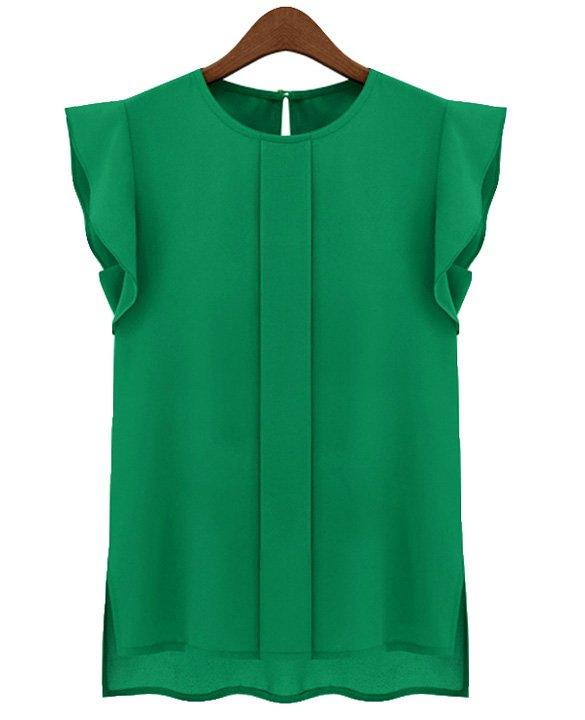 Size Asian L (US M(8-10) ,UK 10, AU 12) Green - Candy Color Women's Chiffon Blouse