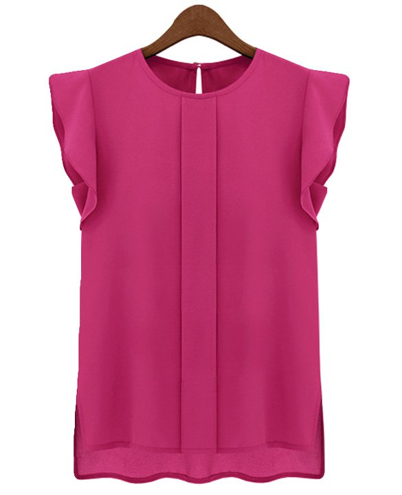 Size Asian L (US M(8-10) ,UK 10, AU 12) - Candy Color Women's Chiffon Blouse