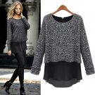 Size Asian L (US M(8-10),UK 10, AU 12) -Stylish Women's Long Sleeve False Two Piece Spring Top