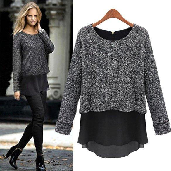 Size Asian XL (US L(12),UK 14, AU 16) - Stylish Women's Long Sleeve False Two Piece Spring Top