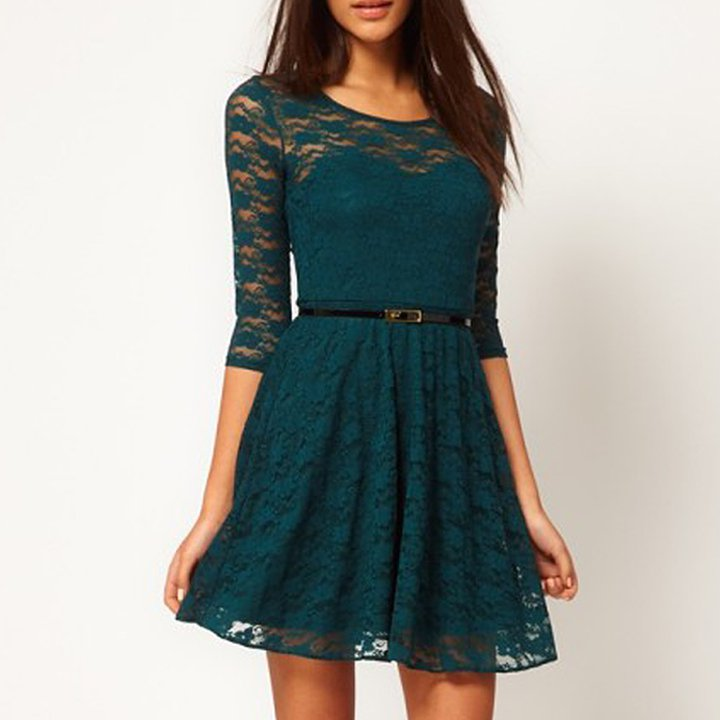 Size Asian S (US S(2) ,UK 2, AU 4) Deep Green - Ladies Round Neck Lace Dress With Belt