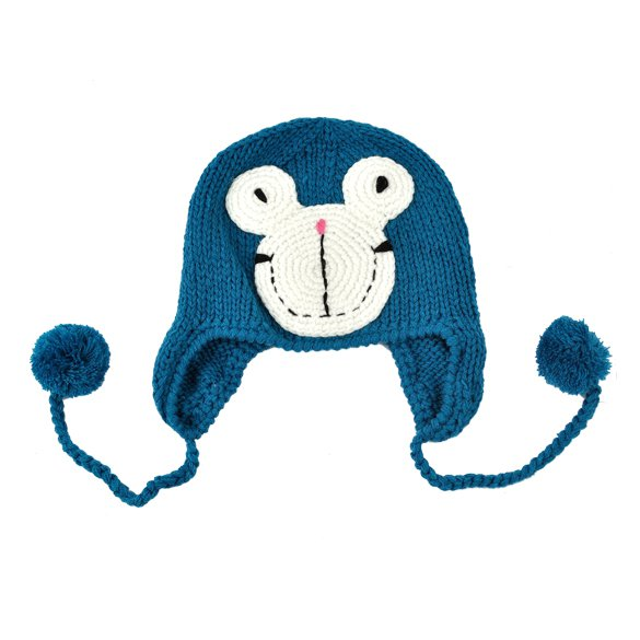 Blue -Toddlers Knitting Earlap Hat