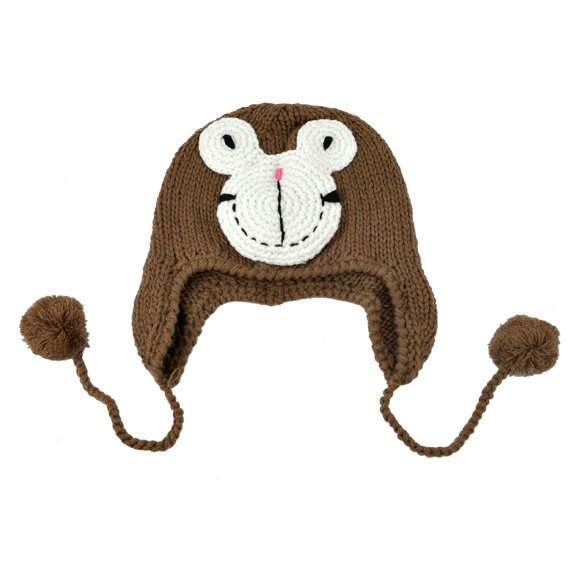 Brown - Toddlers Knitting Earlap Hat