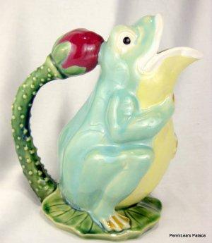 Wanjiang Majolica Pottery Frog on Lily Pad Vase