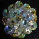 Aurora Borealis Crystal AB Flower Shaped Disc Bead Pin Brooch