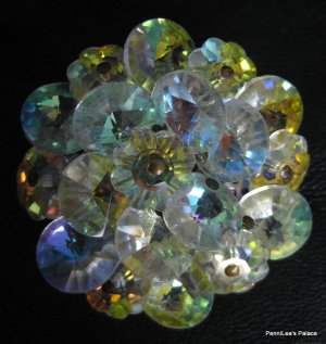 Aurora Borealis Crystal AB Flower Shaped Disc Bead Pin Brooch