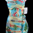 "Paradise Found Tropical Hawaiian ""Florida"" Wrap Smocked Sun Dress Size S"