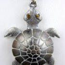 Vintage Articulated Silver Tone Rhinestone Eyes Turtle Necklace