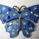 Avon Blue Metallic Enamel Rhinestone Butterfly Brooch