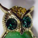 Vintage Green Swirl Cabochon Rhinestone Owl Pin