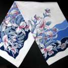 """Vintage Linen Blue and Pink Floral Print Tablecloth-52"""" x 90"""""""