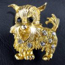 Scotty Puppy Dog Rhinestone Gold Tone Brooch/Pin