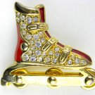 Roller Derby Roller Blade Rhinestone and Enamel Pin