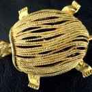Vintage Gold Tone Textured Metal Rhinestone Turtle pin/Brooch