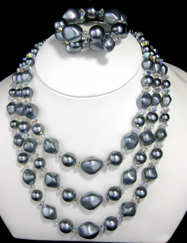 Vintage 3-Strand Gun Metal Gray Baroque and Crystal Aurora Borealis Beaded Necklace and Bracelet Set