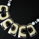 Articulated Geometric Silver Tone Ivory and Black Enamel Chain Strung Beaded Necklace
