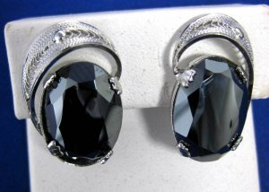 Vintage Sorrento Sterling Silver Filigree Faceted Hematite Earrings