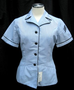 Women�s Vintage Military Fitted Short Sleeve Shirt Size 10 R