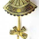 Vintage Gold Plated Damascene Figural Umbrella Brooch /Pin SPAIN