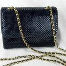 Whiting and Davis Navy Blue Metal Mesh Crossbody Shoulder Bag Purse
