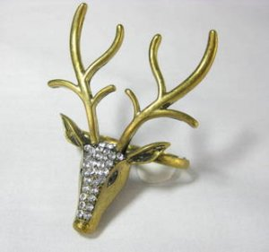 Large Rhinestone Reindeer Deer Double Finger Ring
