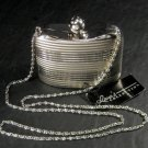 Lana's Collection Silver-Tone Hard Case Evening Purse with Rhinestone Ball Clasp