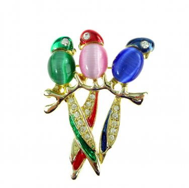 Parrot Pin Rhinestone and Enamel Palm Beach Jewelry Cat�s Eye
